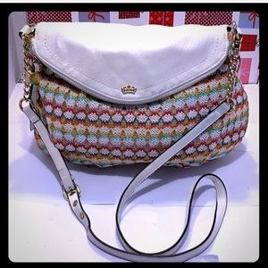 NWOT Juicy Couture Rainbow Lurex Straw X- Body Bag